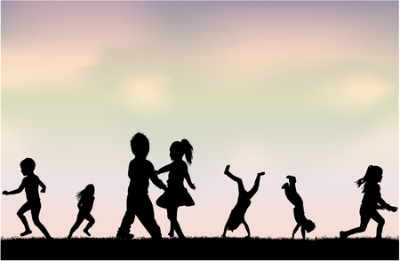 Silhouettes of children playing. Silhouettes conceptual. Illustration