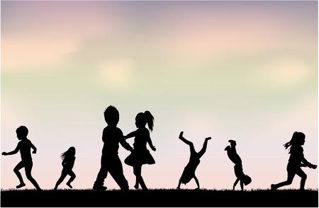 Sylwetki dzieci bawiących się. Koncepcyjne sylwetki.