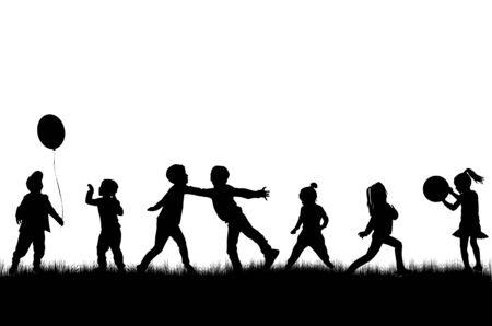 Children silhouettes in nature. Иллюстрация