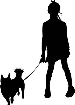 Vector silhouette of girl on white background. Illusztráció