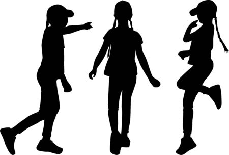 Silhouettes of girls. Vector work.