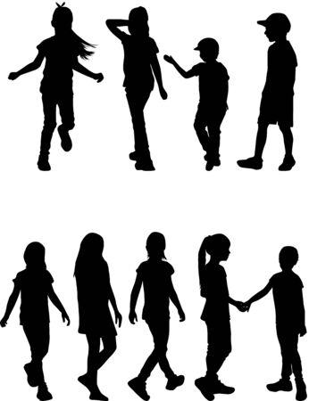 Children silhouettes. Vector work.
