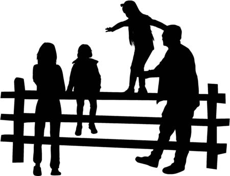 Vector silhouette of family. Vector work.