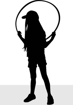 Girl playing with hula hoop, silhouette vector. Ilustração