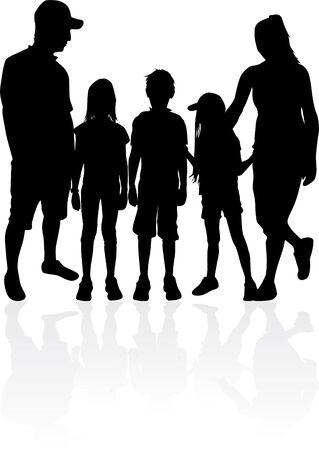 Family of silhouettes. vector work. Illusztráció