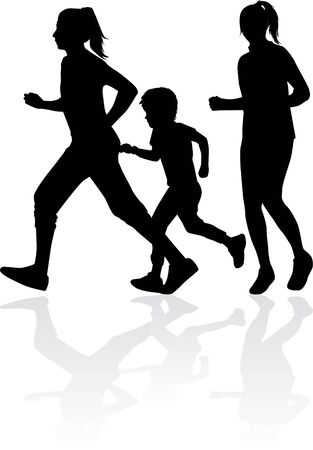 Running  family - black silhouettes of people. Illustration