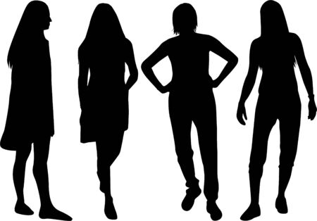 Silhouette of a woman. Vector work.