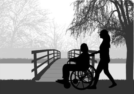 Vektorsilhouette einer Frau, die im Rollstuhl sitzt. Vektorgrafik