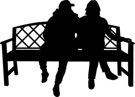 Silhouettes of couples. Vector work Illusztráció