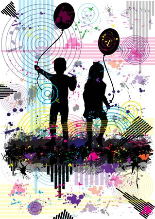 Vector silhouette of children.Abstract background.