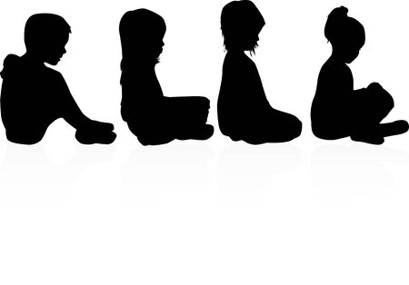 Black Children silhouettes. Vector work.