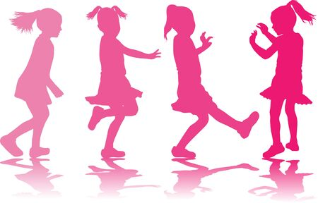 Vector silhouette of children on white background. 스톡 콘텐츠 - 132113248