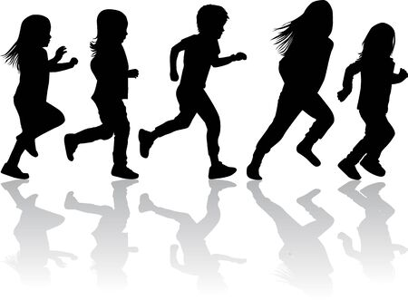 Children silhouettes running. Vector silhouette.