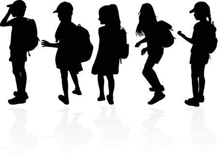 Silhouettes of a children with a backpack .  イラスト・ベクター素材