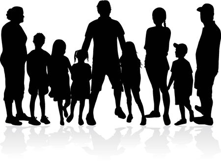 Family of silhouettes. vector work. Stockfoto - 133335711