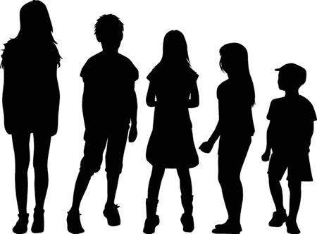 Children black silhouettes. Vector work.