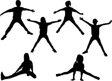 Silhouettes of children in sport.