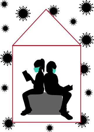 Silhouettes of people with a book Ilustracja