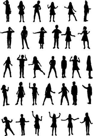 Black silhouette of children on white background. 版權商用圖片 - 143537030