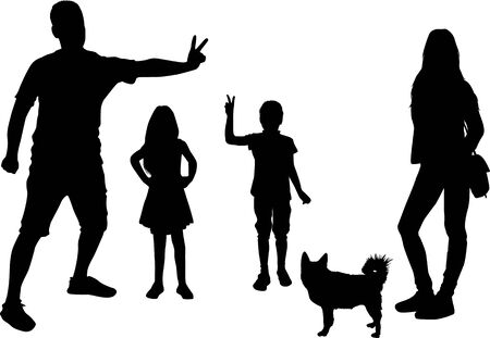Black silhouette of family on white background.