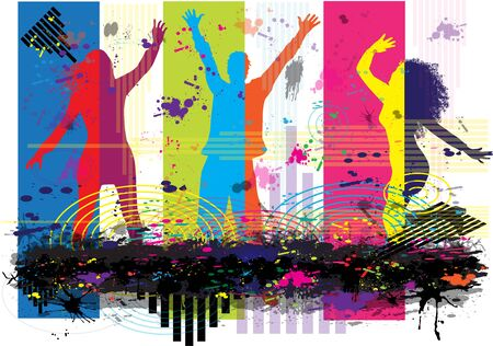 Dancing people silhouettes. Abstract background. 向量圖像