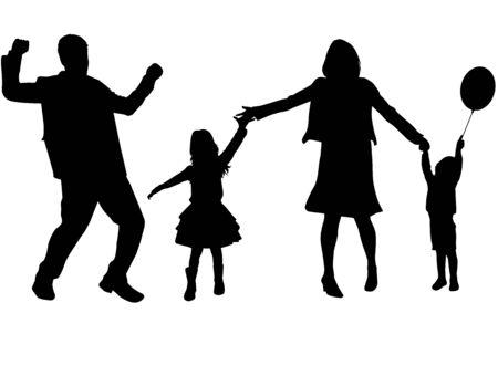 Family black silhouettes, conceptual Illustration .