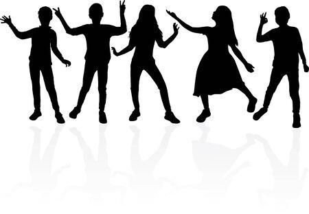Dancing children silhouettes, conceptual illustration.