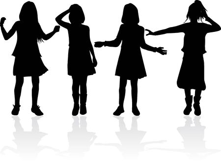 Black silhouette of children on white background.