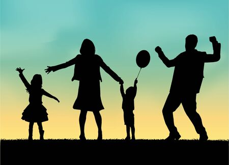Family in nature, conceptual Illustration .
