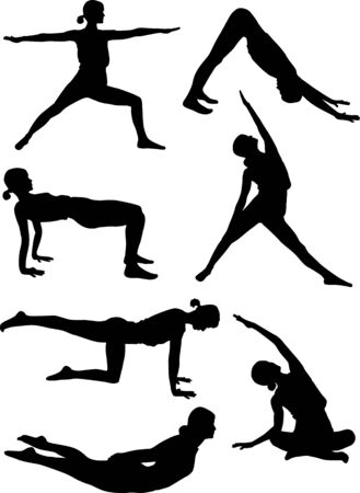 Silhouettes of doing yoga exercises. Ilustracja
