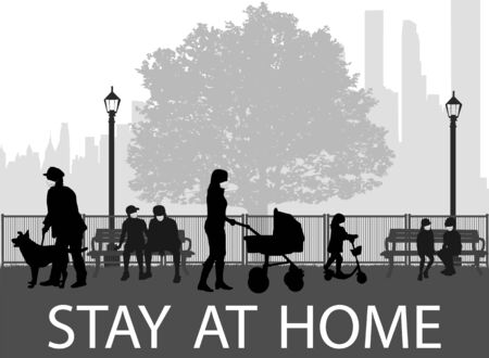 People silhouettes, urban background. Stay at home.