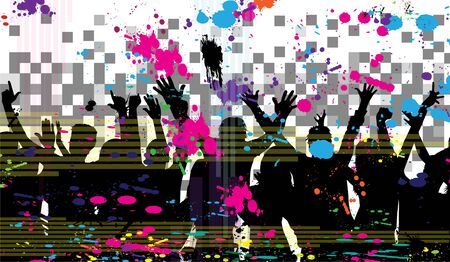Dancing people silhouettes. Abstract background. Ilustracja