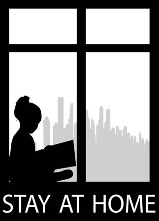 Silhouette of people with a book. Stay at home.