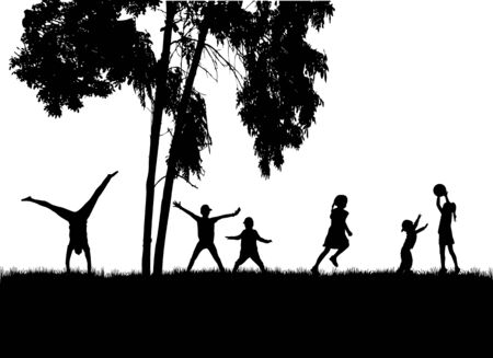 Children black silhouettes in nature.