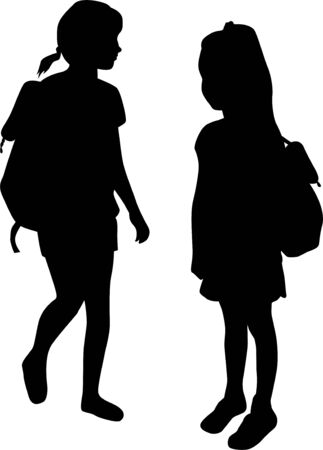 Silhouettes of a children with a backpack . Ilustrace