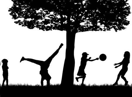 Children black silhouettes in nature.