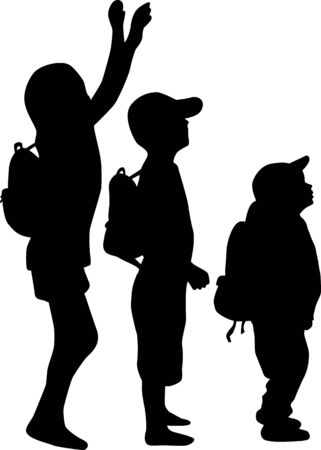 Silhouettes of a children with a backpack . Ilustracja