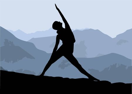 Yoga exercises, silhouette of a girl practicing