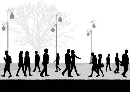 Crowd of people walking, conceptual illustration. Illustration
