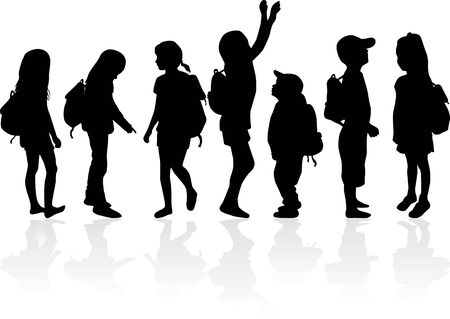 Silhouettes of a children with a backpack . Illustration