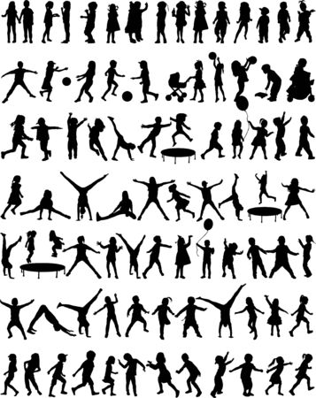Collection of silhouettes of children .