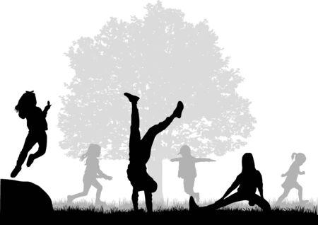 Kinder schwarze Silhouetten in der Natur. Vektorgrafik
