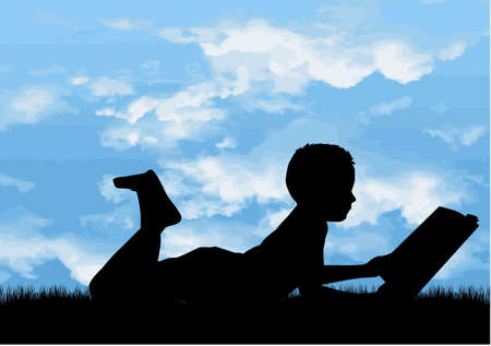 Children silhouette at the playground, illustration