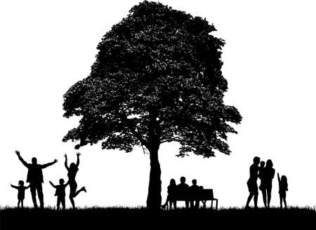 Silhouettes of people with backpacks, nature in the background.