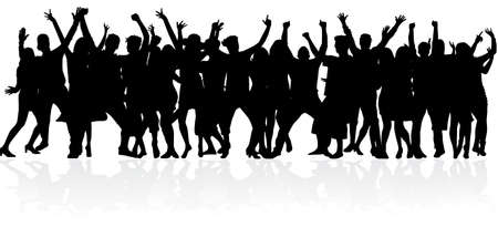 Dancing people silhouettes. Abstract background. Ilustracje wektorowe