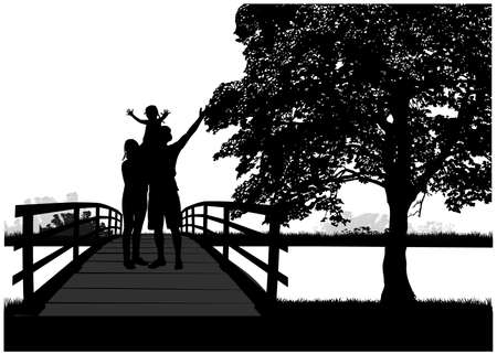 Family silhouettes in nature, concept illustration. Ilustracja