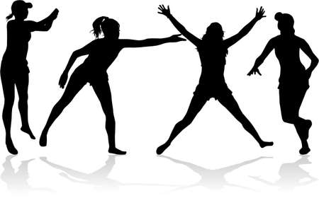 Group of people. Black silhouettes. Conceptual illustration. Illustration