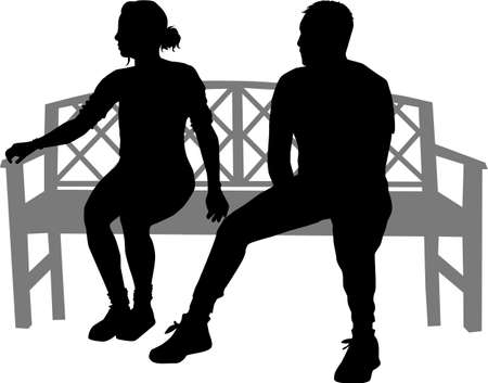 Black silhouettes of people sitting on a bench