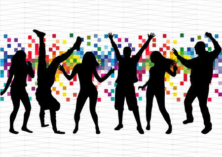 Dancing people silhouettes. Abstract background. Stock Illustratie