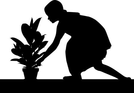 Silhouette of a girl with a flower in a pot.
